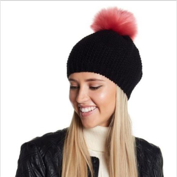 07670c922 Norla Faux Fur Pompom Wool Black Knit Beret Beanie NWT